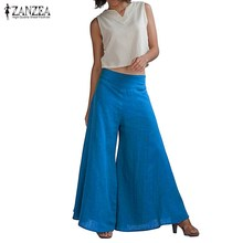ZANZEA Women 2017 Summer Oversized Wide Leg Pants Casual Loose Elastic High Waist Elegant Trousers Ladies Solid Pants Plus Size
