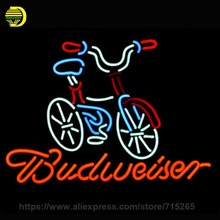 BUDWEISER BICYCLE Neon Sign Glass Tube Neon Bulbs Flash Light Handcrafted Indoor Board Metal Sign Shop Display Iconic Lamp 24x20