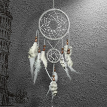 Dreamcatcher Gift Checking Dream Catcher Net With Double Rings Feathers Window Car Wall Hanging Decoration Ornament Grey(China)