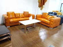 Top Grain Leather Sofa Stainless Steel Legs Contemporary Leisure Living Room Furniture Made in China