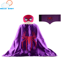 1 Cape +1 Mask+1pc wristband spiderman superman sets boys kids superhero capes costume superhero suits for kids gift birthday