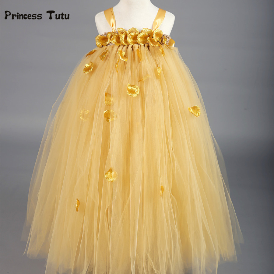 Gold Elegant Tutu Dress Flower Girl Dresses Tulle Custom Birthday Party Gown Baby Kids Princess Wedding Pageant Formal Dress <br>