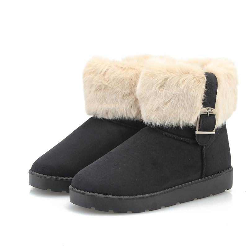 Fashion 2016 Women Snow Boots Pu Waterproof with Fur Women Ankle Boots Faux Suede Casual Ladies Flats Boots Shoes<br><br>Aliexpress