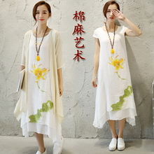 offer every day in the summer of 2017 female dress linen cotton printing thin long  fashion elegant folk style