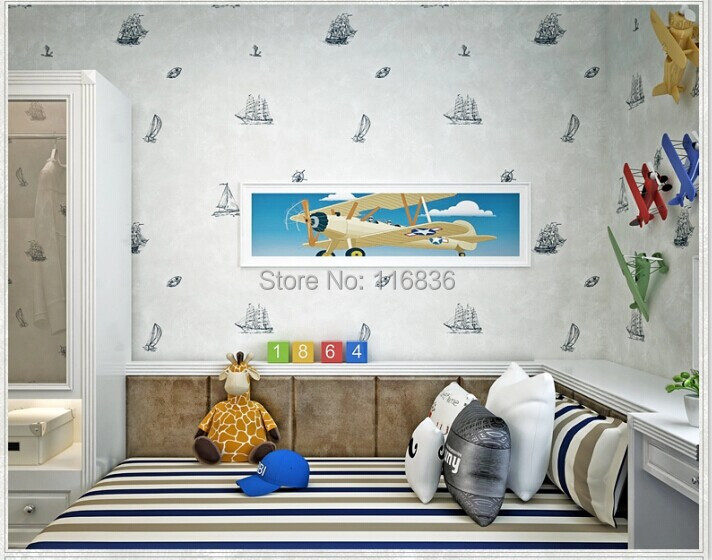 wallpaper modern travelling boat Textured Wallcoverings Vintage kids room Wall Paper papel de parede 53x1000CM<br><br>Aliexpress