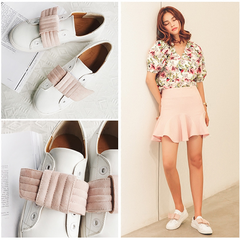 Toe Single Shoes Bow Flat Fashion Women  Shoes Vintage Denim Cute Printed Shoes Casual Ladies Creepers Platform Shoes Flats<br><br>Aliexpress
