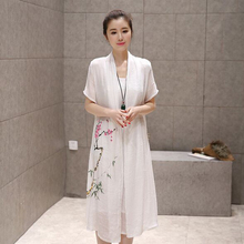 Loose Causal Dress 2016 Summer Women Dress Fake two Chinese Robes Vintage Print Long Sleeve Dress Plus Size Linen Dress