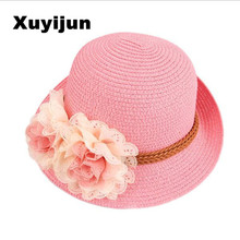 Xuyijun 2016 Hot Cute Flower Decorate Baby Girls Children Hats Sun Beach Caps For Summer 4 Colors For Choose Beach hat(China)