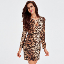 Buy Europe 2017 Fashion M-2XL Leopard Hollow Sexy Dress Women Full Sleeve Slim Autumn Dresses Ladies Bandage Dress Vestidos for $12.14 in AliExpress store