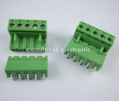 50 Pcs 5.08mm Pitch Right Angle 5 pin 5 way Screw Terminal Block Plug Connector<br>