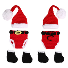 Baby Newborn Photography Props Accessories Crochet Knitted Santa Claus Hats for Children Girls Babies Christmas Props Fotografia(China)