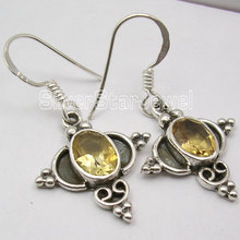 Natural Citrines ANCIENT STYLE Jewellery !   Silver Earrings 3.3 CM