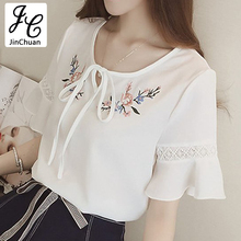 Ete Floral Embroidery Blouse Women Hollow Lace Flare Sleeve Shirts Fashion 2017 Casual Bow Chiffon Tops White Female Blusas