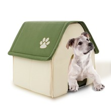 2017 New Arrival Fodable Dog House Soft Dog Bed Daily Products For Pets Cats House Dogs Home Shape Furnature Pet House Red Green(China)
