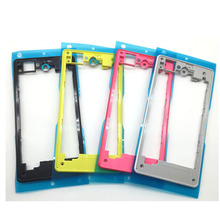 Fitted Case Z1 mini Rear Housing Middle Plate Frame Spare Part With Adhesive for Sony Xperia Z1 Compact D5503 Back Rear Frame