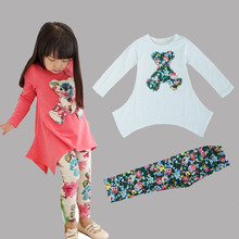 Hot sell autumn new 2017 girls bear long-sleeve t-shirt + flower legging clothing set cotton kids clothes sets
