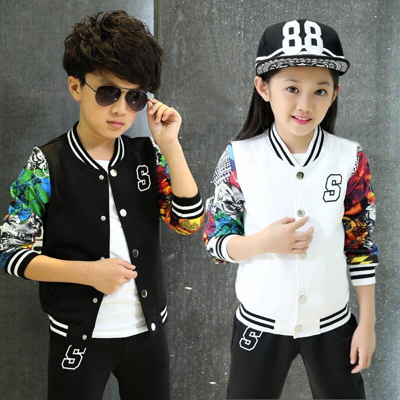 Kids Sports Wear Autumn Sets Children Sports Suit Kids Badge Baseball Sports Sets Girls Harem Suit 2piece Suit Set B203<br>