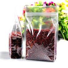 100Pcs Clear Plastic Zipper Bag Doypack Stand Up Side Gusset Ziplock Resealable Zip Lock Pouch Food Packaging Dried Fruit Beans(China)