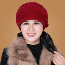 Thermal hat female winter quinquagenarian women's rabbit the elderly knitted hat knitted hat winter hat(China)