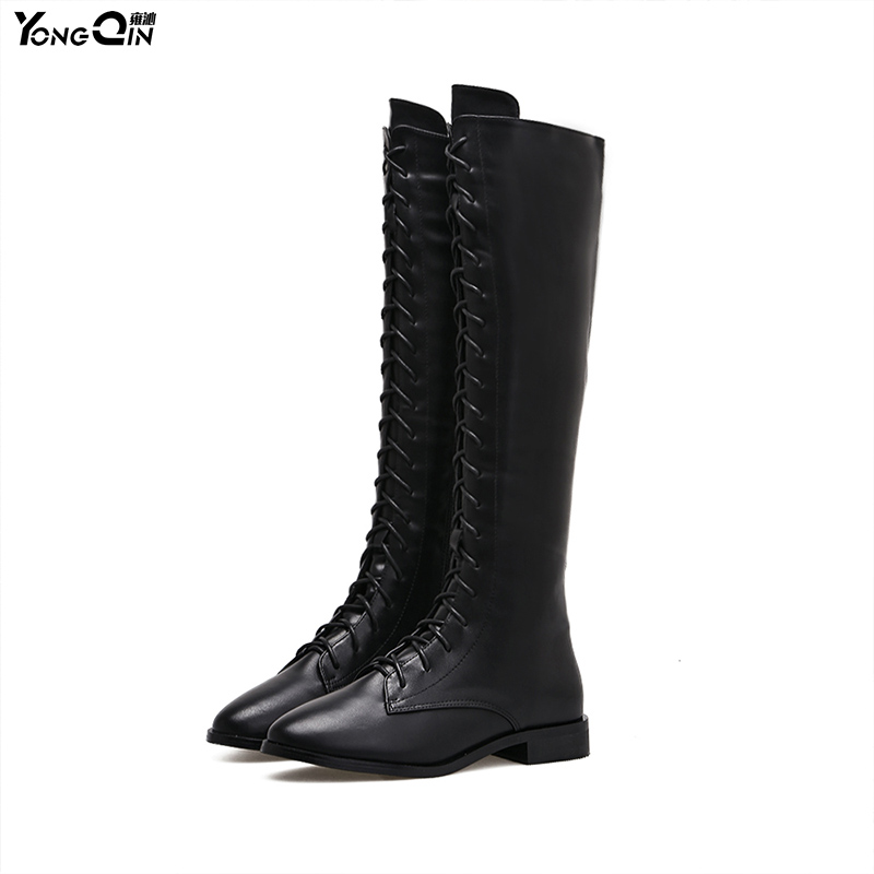 Fashion Retro Over The Knee Boots Women  Motorcycle Long Boots Flat heel side zipper Martin Boots women<br>