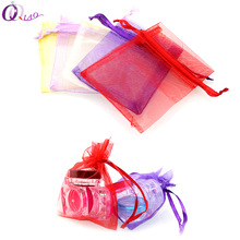 Mix Colors 16colors 7x9cm 9*12mm 100pcs/lot Small Organza Bags Favor Wedding Christmas Gift Bag Jewelry Packaging Bags & Pouches(China)