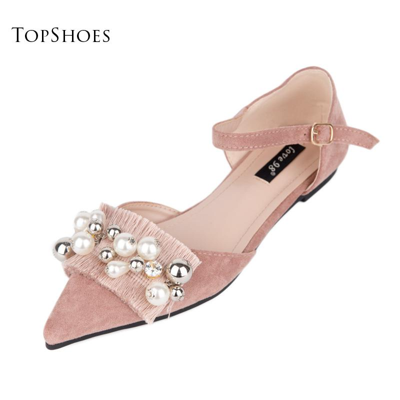 Tassel Pearl Fringe Pointed Toe Ballet Flats Buckle Strap Sweet Princess Cotton Fabric European Fashion Shoes Woman luxury<br>