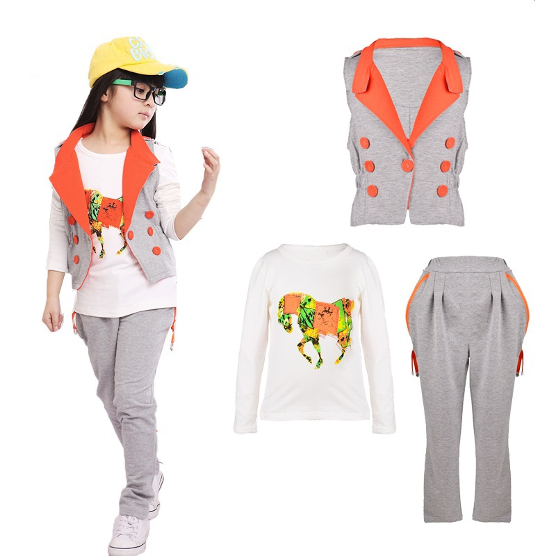 New 2015 spring Vest&amp;Long Sleeve Horse Pattern T-shirt&amp;Zipper Pant girls clothing sets Girls Sports Suit 3 pieces Free shipping<br><br>Aliexpress