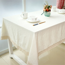 2017 European Pastoral Style Solid White Color Lace Side Cotton & Linen Tablecloth Dustproof Table Cover For Wedding Decoration