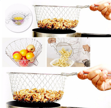 Multifunction Stainless Steel Fry  Strainer Steam Rinse Strain Chef Basket Magic Basket   Kitchen Net  for Cooking Tool Colander