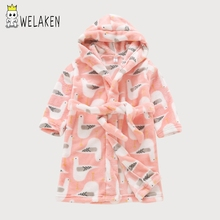 weLaken Kids Bathrobe Autumn Winter Baby Boys Girls Cartoon Cute Pajamas Flannel Sleepwear Soft Homewear Children's Hooded Robes(China)