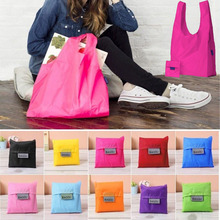 New Square Pocket Shopping Bag Candy 11 colors Available Eco-friendly Reusable Folding Handle Polyester Bag