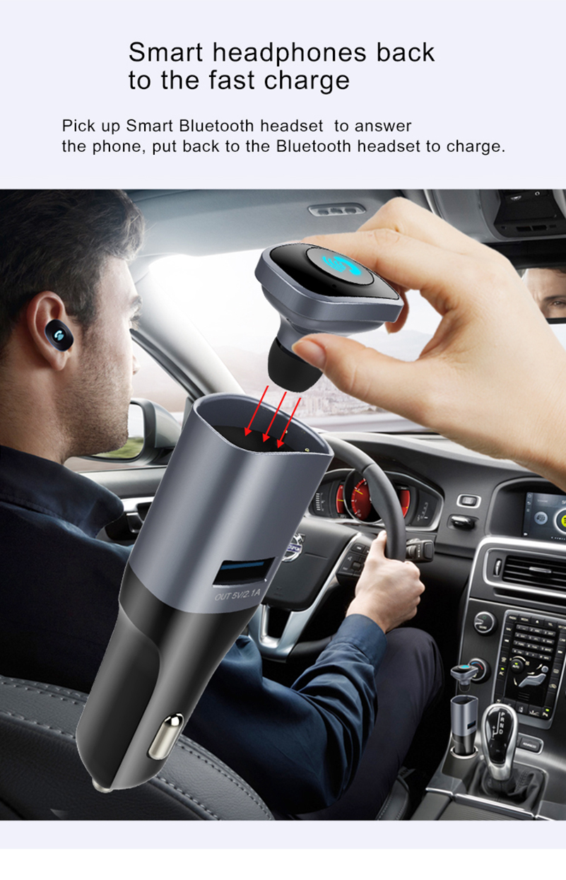 New Wireless Car Bluetooth Headset Bluetooth Car Kit Hands Free Calling MP3 Player Bluetooth V4.0 USB Car charger 5V/2.1A