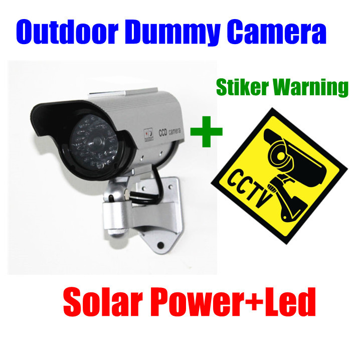Indoor Outdoor ip camera Solar Powered Fake Dummy CCTV Security Camera with LED Light Waterproof sticker warning decal<br><br>Aliexpress