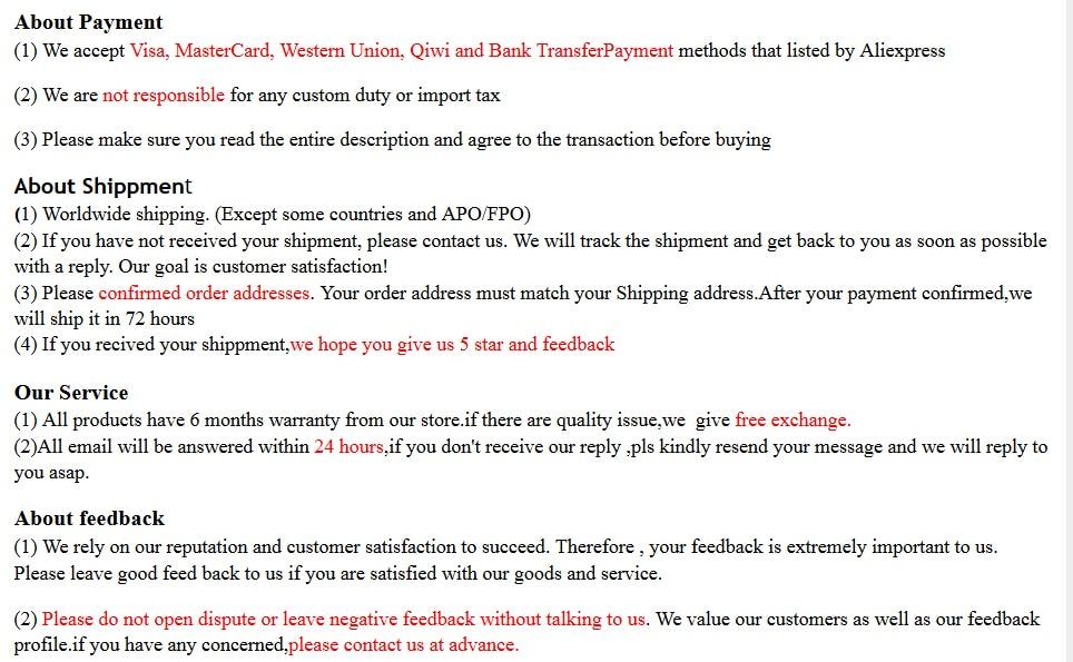 paymentshippment,service,feedback