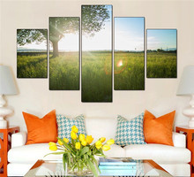 Wall Art Trees among Yellow Sun and Green Large Home Decor Canvas Print Painting Poster for Living Room Unframed 5 Pieces/set(China)
