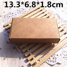 50pcs 13.3*6.8*1.8cm Brown Carton Kraft Box Wedding Gift Candy Boxes Soap Packaging Jewellry Packing Box