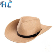 Classic Outdoor Casual travel Straw hats for men wide brim floppy sun hat high quality leather belt Foldable cowboy caps