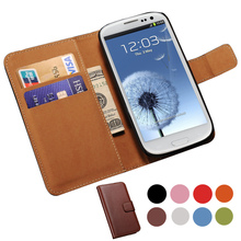 Genuine Leather Case For Samsung Galaxy S3 i9300 SIII Wallet Style Flip Style Phone Bag Cover For Samsung Galaxy S3 Cases(China)