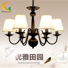 free shipping Simple retro living room European-style garden restaurant wrought iron chandelier bedroom chandelier led