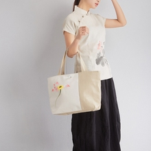Chinese Flowers Hand Painted Women Casual Linen Canvas Tote Handbags Retro Elegant Ladies Shopping Bags Female Shoppers Bag(China)