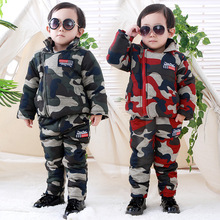Winter Toddler Baby Boys Camouflage Clothing Sets Thicken Coat + Pants 2 Pcs Infant Baby Jackets Boys Down Coat Kids Snowsuits