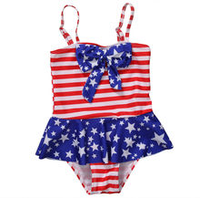 2-10Y Baby Girls Swimwear Infant One Piece Swimsuit Strips Dot Print Swimming Suit Baby Clothing american flag Babe Bikini(China)