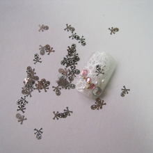 MS14-1 100pcs Silver Cute Skull Nail Art Metal Sticker Nail Art Decoration Non-adhesive Sticker(China)