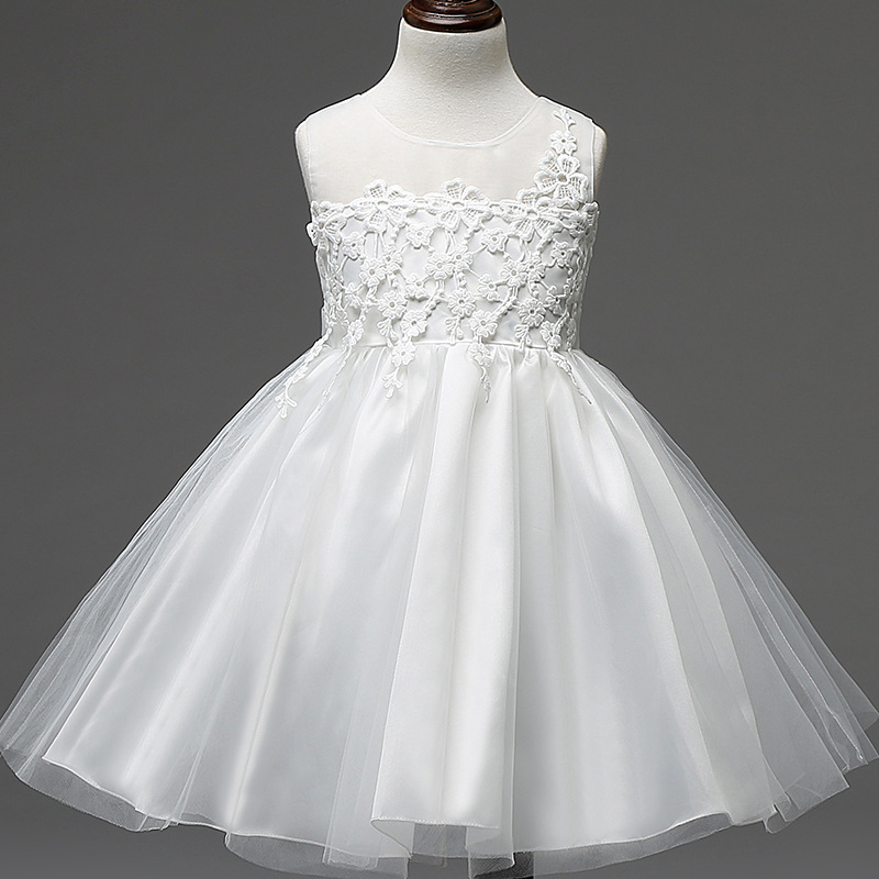 2017 Elegant Girl Dress Summer White Color Lace Fashion Big Bow Party Tulle Flower Princess Wedding Dresses Baby Girl Dress 201<br><br>Aliexpress
