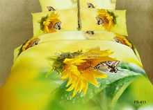oil painting 4pcs cotton 3D butterfly sunflower yellow active printed bedlinen duvet cover set bedding set