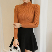 New winter half Polo neck long sleeved Pullover Sweater Shirt short stretch sweater slim girl(China)