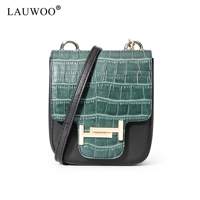 LAUWOO New Women Fashion Real Cow Leather shoulder bags Female Casual Crossbody Bag Messenger Bags<br>