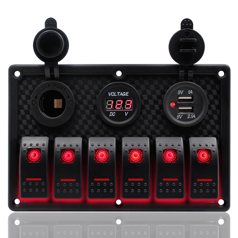 Business, Office & Industrial Switches 12V 24V 6 Gang LED Rocker Switch Panel Circuit Breaker Voltmeter Car Marine Boat