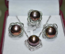 Free shipping 11.5-12mm white pink purple black freshwater pearl necklace ring earring sets