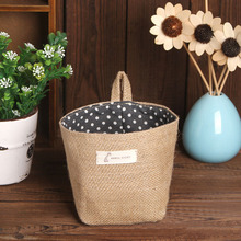 New Storage Bags Polka Dot Small Storage Sack Cloth Hanging Non Woven Storage Basket drop Shipping